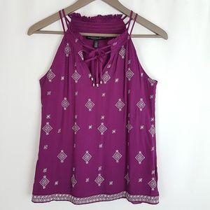 White House Black Market Purple Embroidery Top XXS